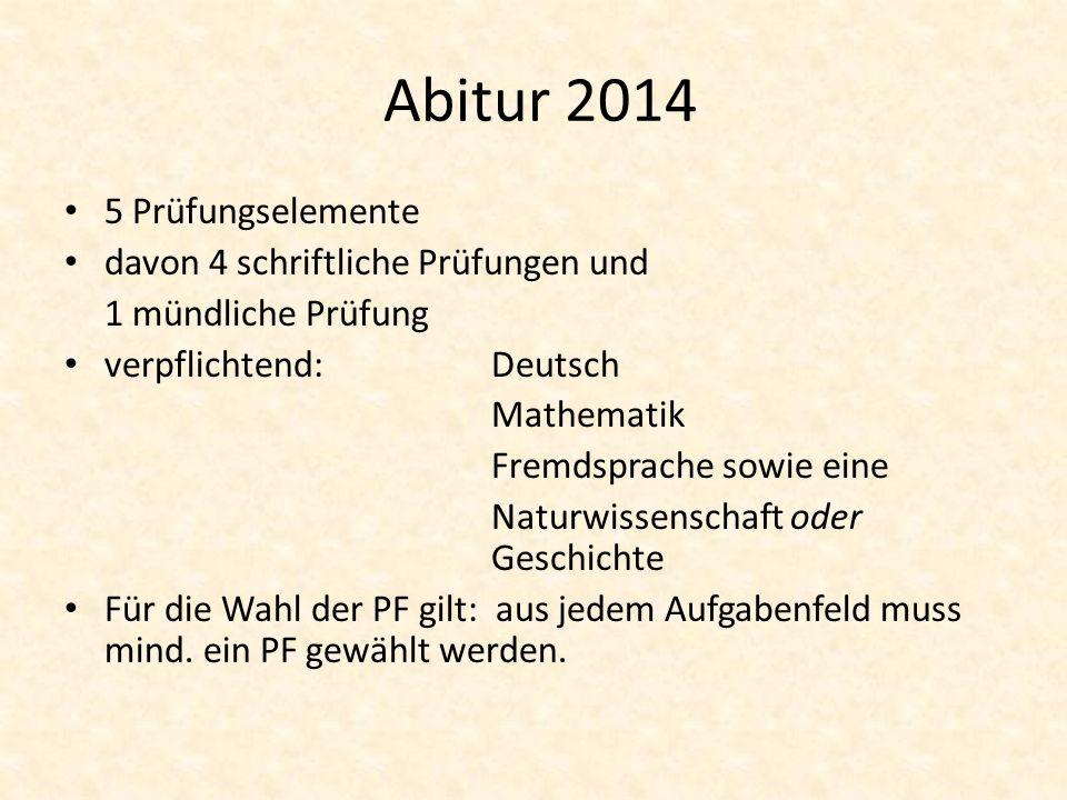 Abitur 2014 5 Prüfungselemente davon 4 schriftliche Prüfungen und