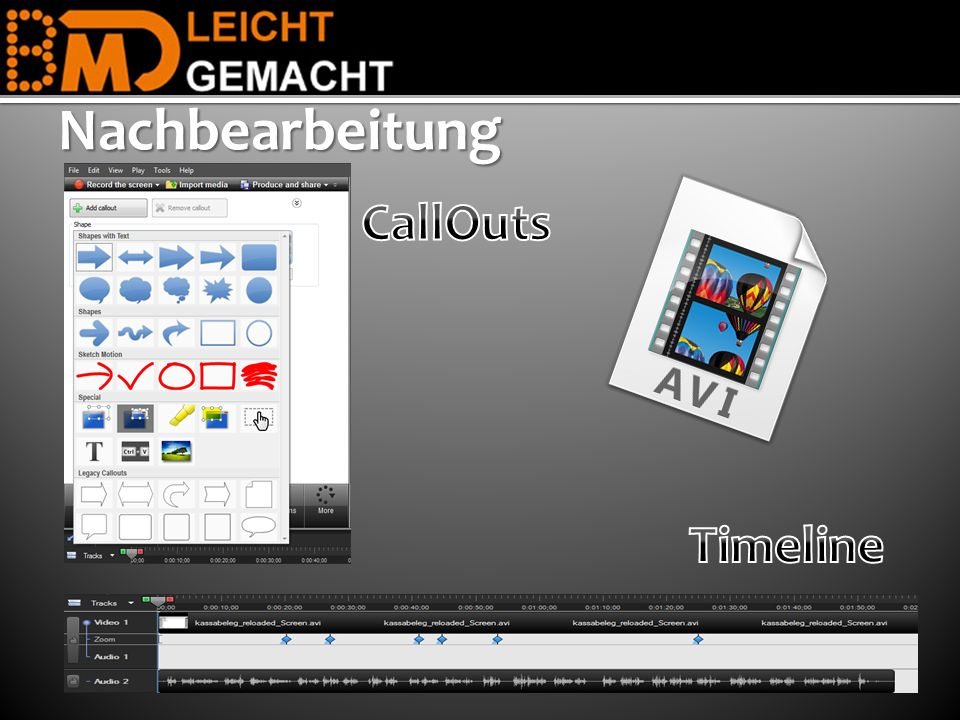 Nachbearbeitung CallOuts Timeline