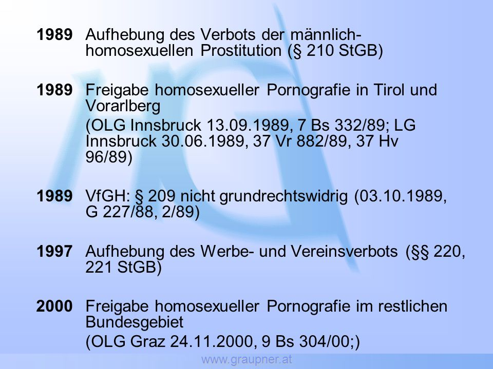1989 Freigabe homosexueller Pornografie in Tirol und Vorarlberg