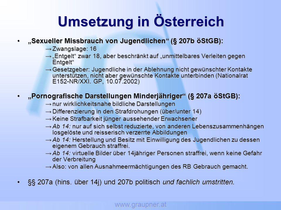 Umsetzung in Österreich