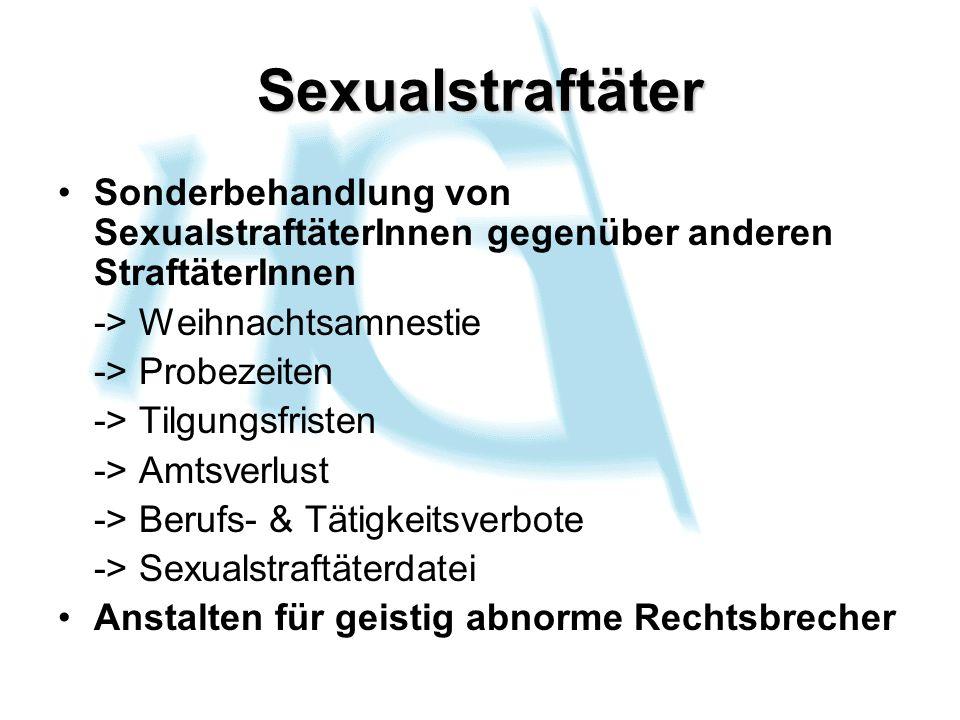 Sexualstraftäter Sonderbehandlung von SexualstraftäterInnen gegenüber anderen StraftäterInnen. -> Weihnachtsamnestie.