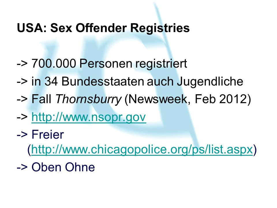 USA: Sex Offender Registries