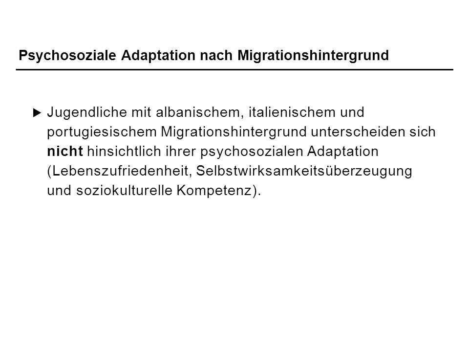 Psychosoziale Adaptation nach Migrationshintergrund
