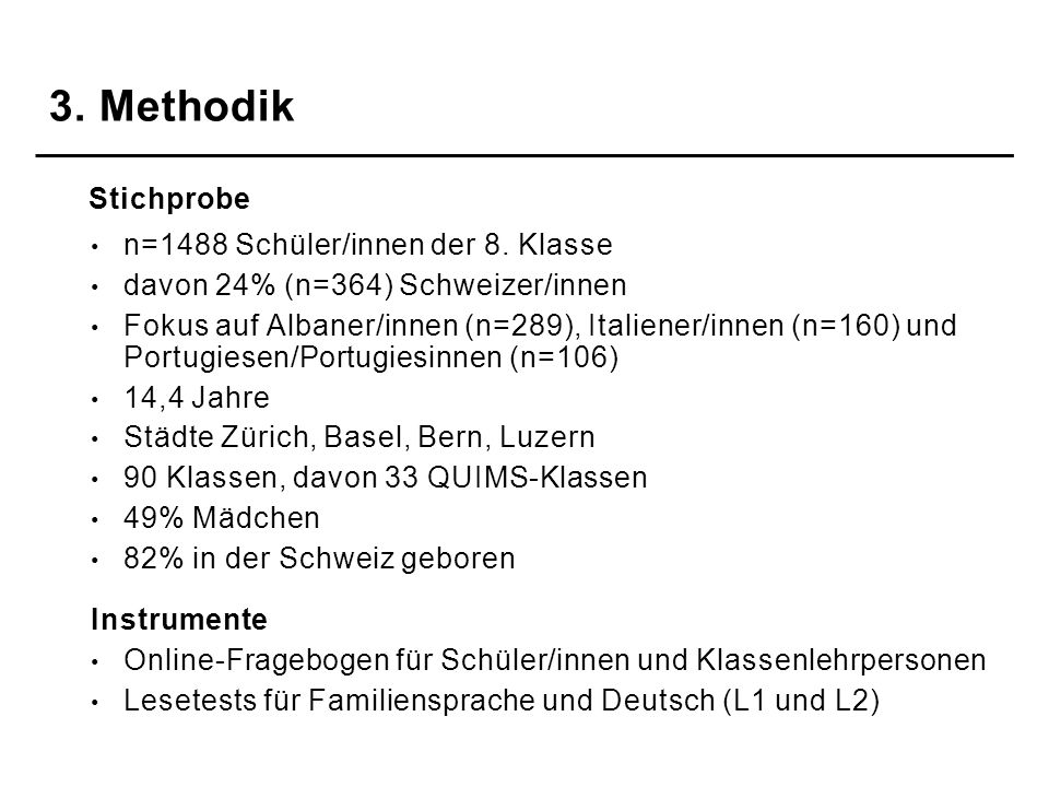 3. Methodik n=1488 Schüler/innen der 8. Klasse