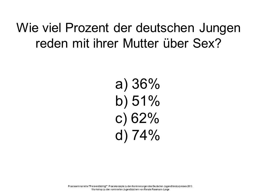Wie viel Prozent der deutschen Jungen reden mit ihrer Mutter über Sex
