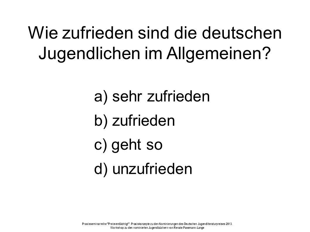Wie zufrieden sind die deutschen Jugendlichen im Allgemeinen