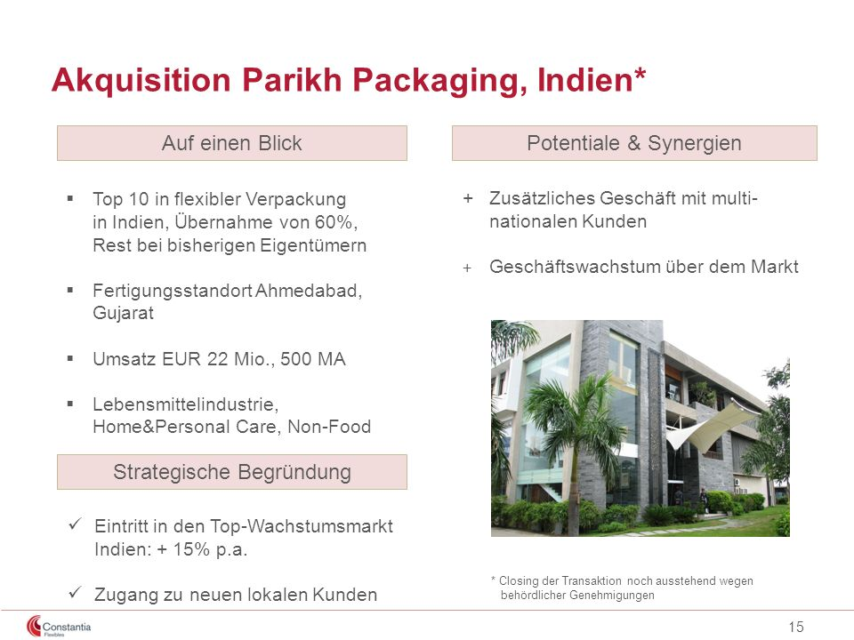 Akquisition Parikh Packaging, Indien*
