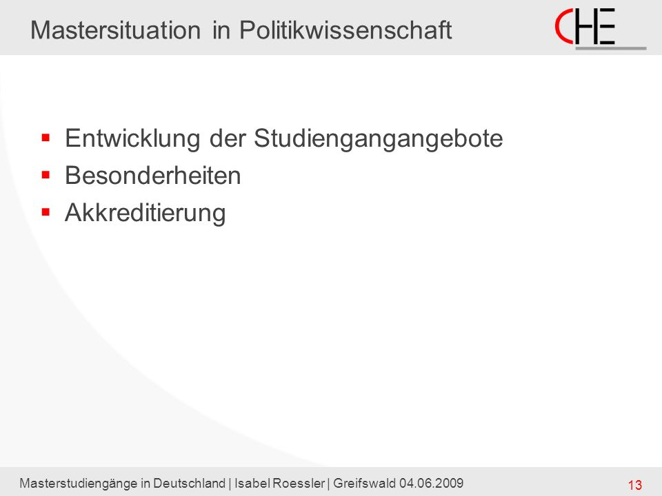 Mastersituation in Politikwissenschaft