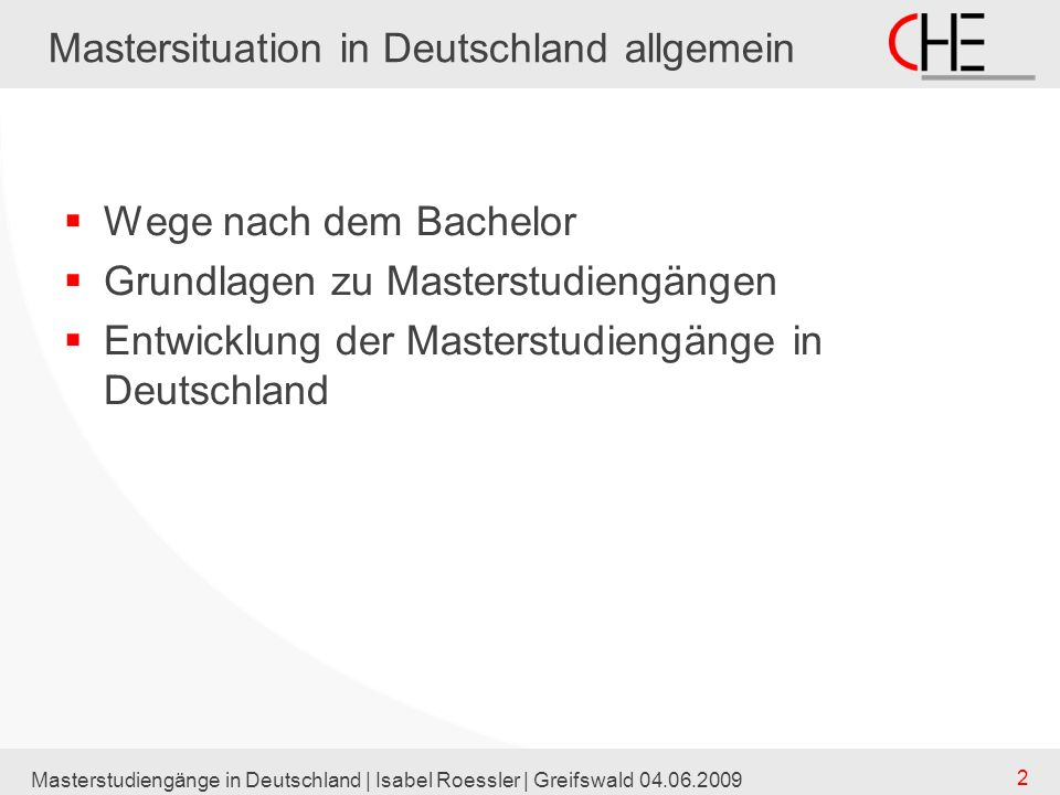 Mastersituation in Deutschland allgemein