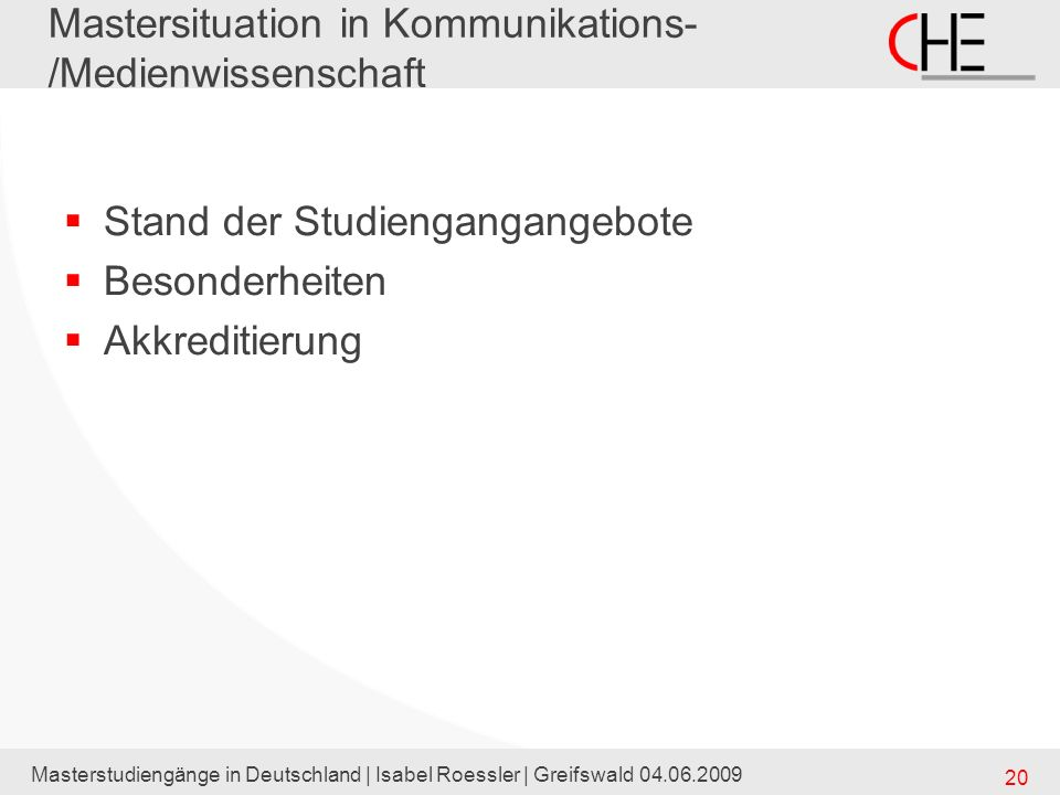 Mastersituation in Kommunikations-/Medienwissenschaft