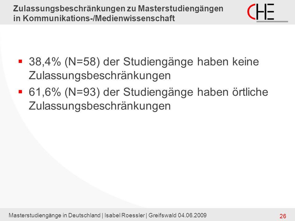 38,4% (N=58) der Studiengänge haben keine Zulassungsbeschränkungen
