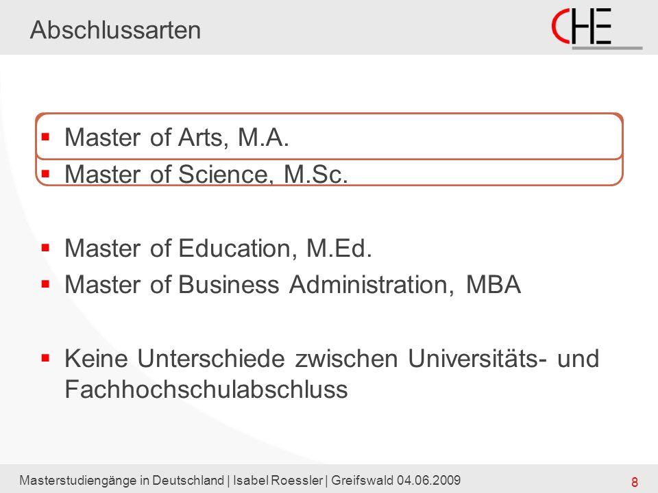 Master of Education, M.Ed. Master of Business Administration, MBA