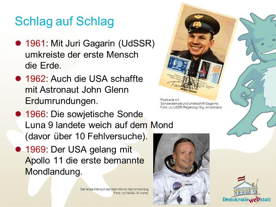 Schlag auf Schlag 1961: Mit Juri Gagarin (UdSSR) umkreiste der erste Mensch die Erde.