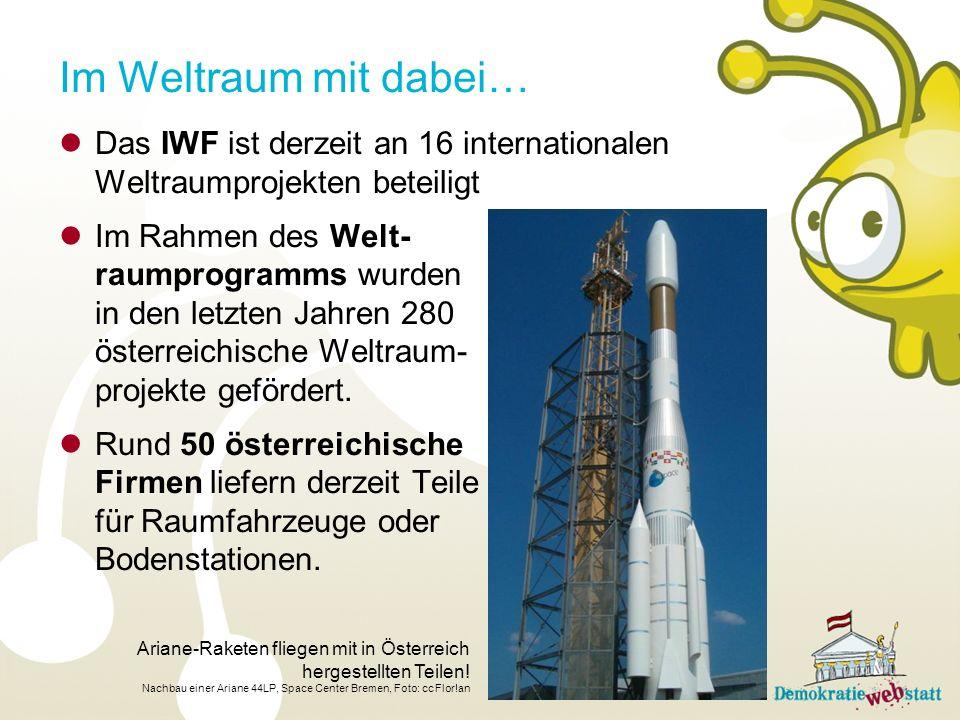 Im Weltraum mit dabei… Das IWF ist derzeit an 16 internationalen Weltraumprojekten beteiligt.