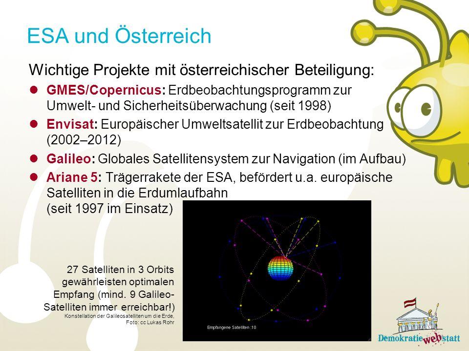 ESA und Österreich Wichtige Projekte mit österreichischer Beteiligung: