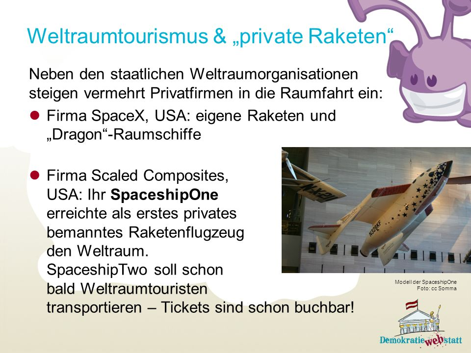 "Weltraumtourismus & ""private Raketen"