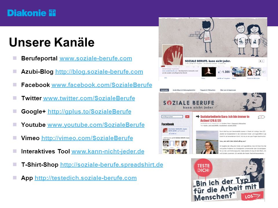 Unsere Kanäle Berufeportal www.soziale-berufe.com