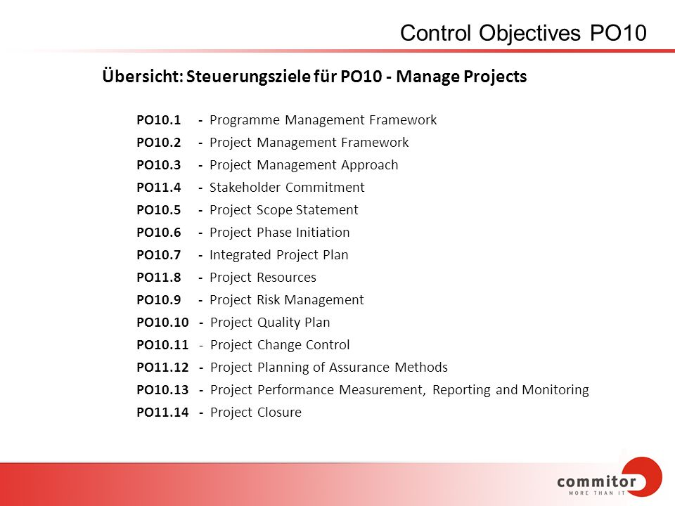 Control Objectives PO10 Übersicht: Steuerungsziele für PO10 - Manage Projects. PO10.1 - Programme Management Framework.