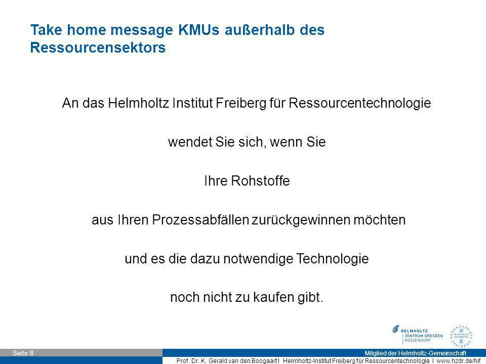 Take home message KMUs außerhalb des Ressourcensektors