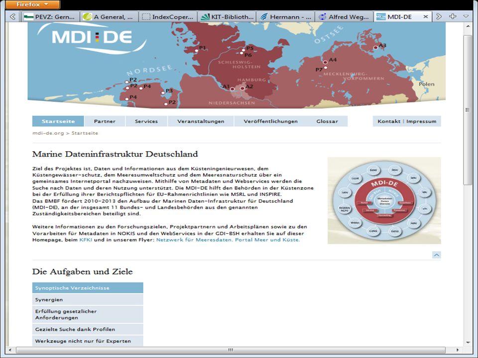 """Das Projekt MDI-DE (Marine Dateninfrastruktur Deutschland) plant im Projektverlauf einen Thesaurus """"Meer und Küsten – wir stehen in Verbindung und werden miteinander arbeiten, um einen gemeinsamen Thesaurus zu erstellen – oder – realistischer – ein Portal für existierende Thesauri verschiedener Herkunft zu bauen"""