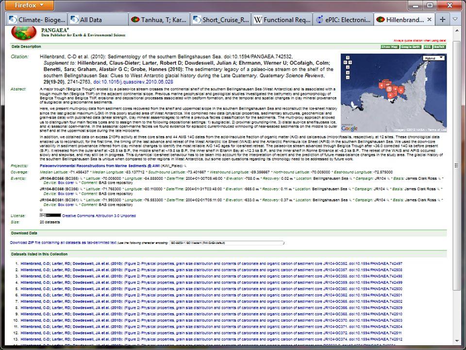 … wird automatisch Pangaea nach einem Datensatz abgefragt und – falls vorhanden - angezeigt