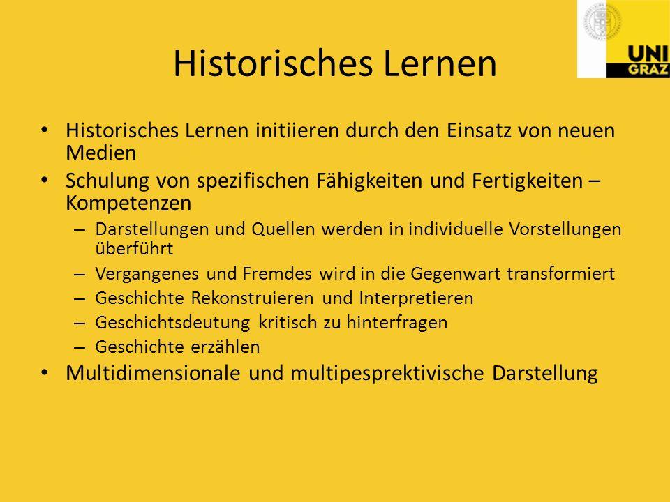 Historisches Lernen Historisches Lernen initiieren durch den Einsatz von neuen Medien.
