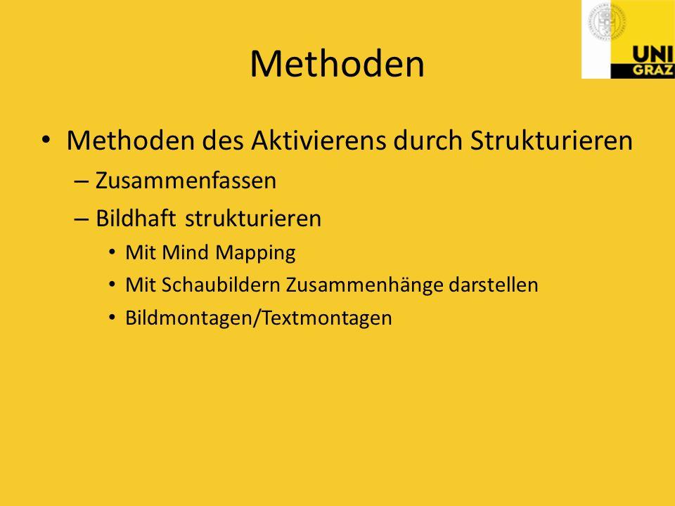 Methoden Methoden des Aktivierens durch Strukturieren Zusammenfassen