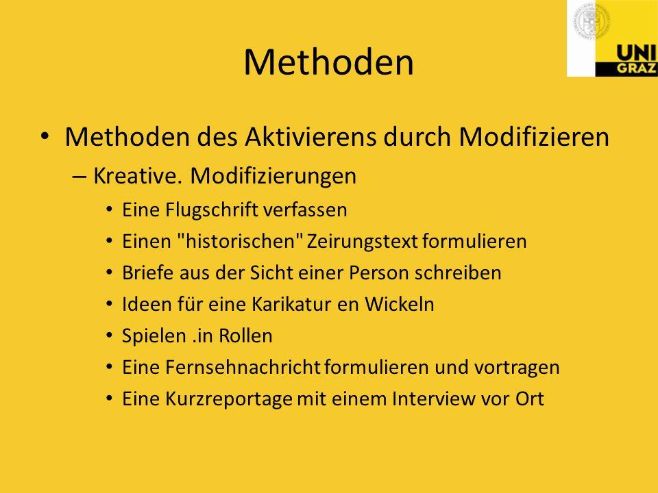 Methoden Methoden des Aktivierens durch Modifizieren