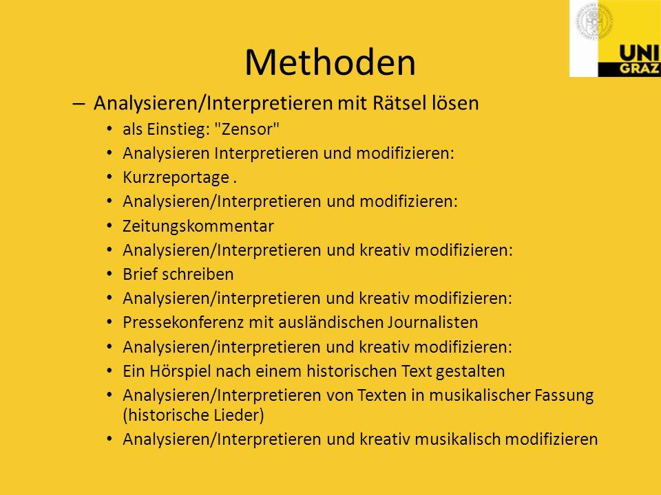 Methoden Analysieren/Interpretieren mit Rätsel lösen