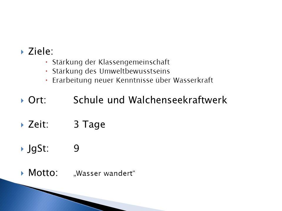 Ort: Schule und Walchenseekraftwerk Zeit: 3 Tage JgSt: 9