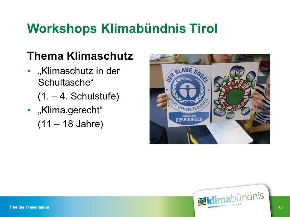 Workshops Klimabündnis Tirol