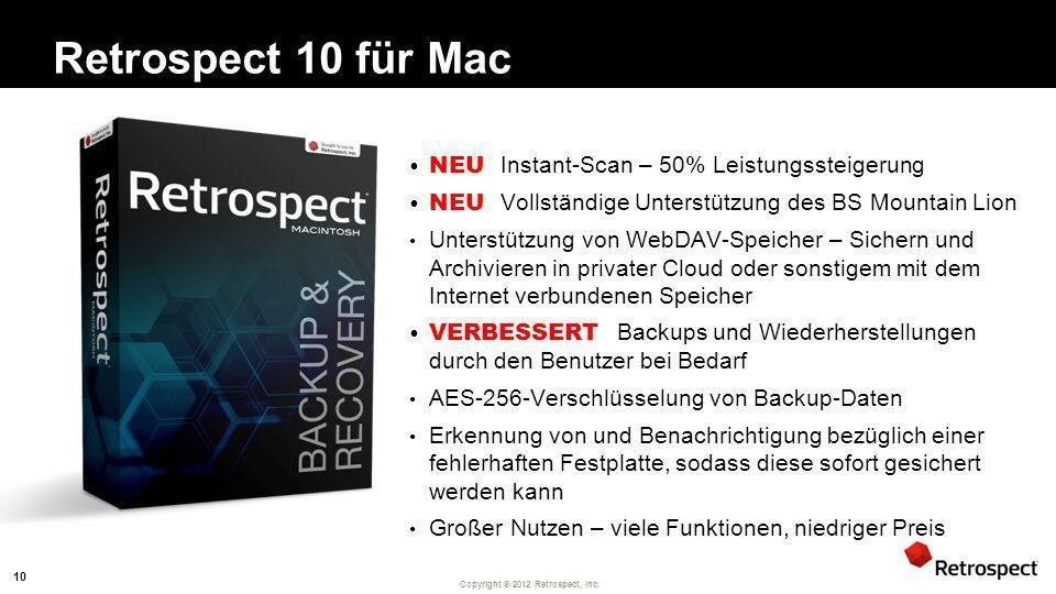 Retrospect 10 für Mac NEU Instant-Scan – 50% Leistungssteigerung