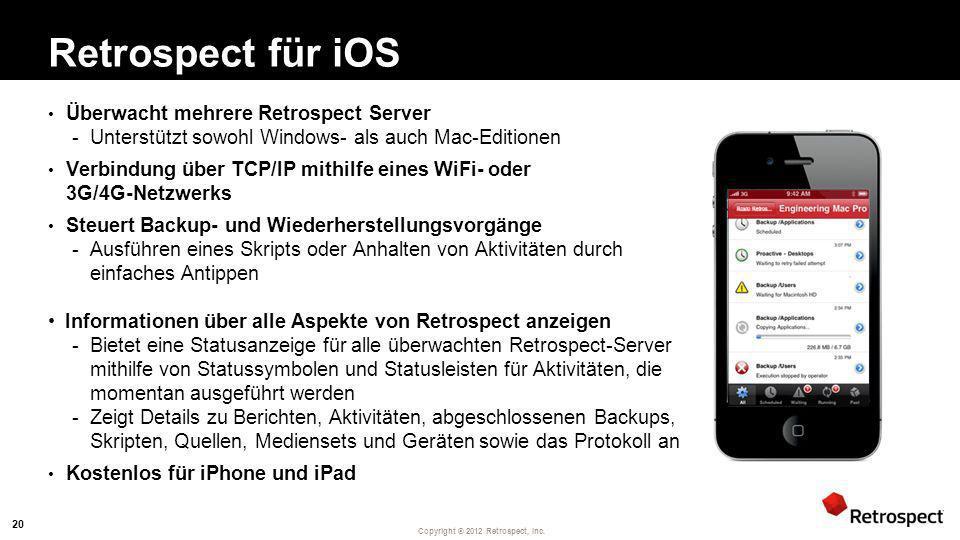 Retrospect für iOS Überwacht mehrere Retrospect Server