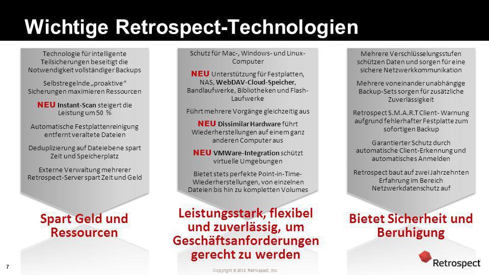 Wichtige Retrospect-Technologien