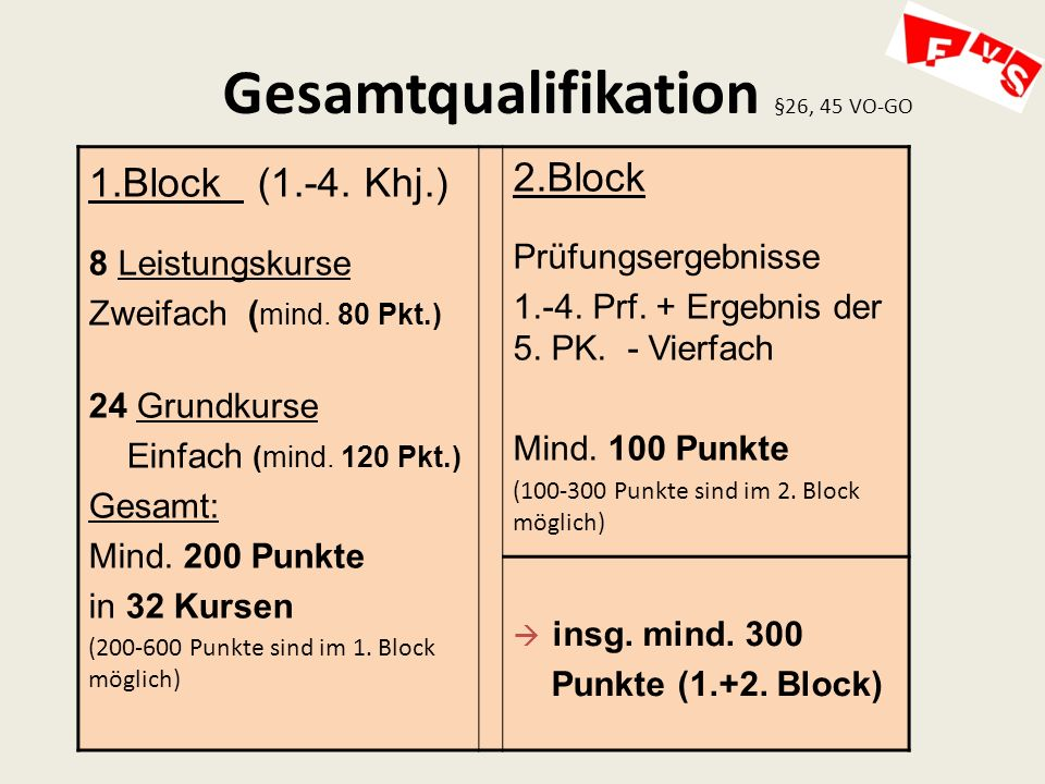 Gesamtqualifikation §26, 45 VO-GO