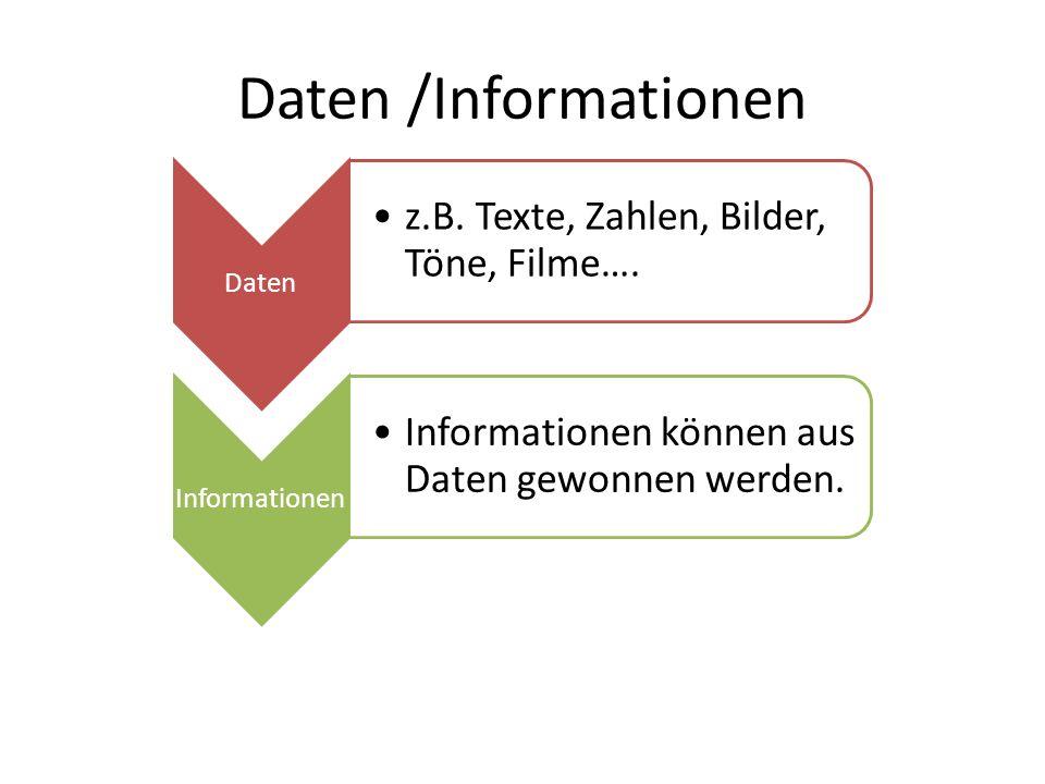Daten /Informationen Daten z.B. Texte, Zahlen, Bilder, Töne, Filme….