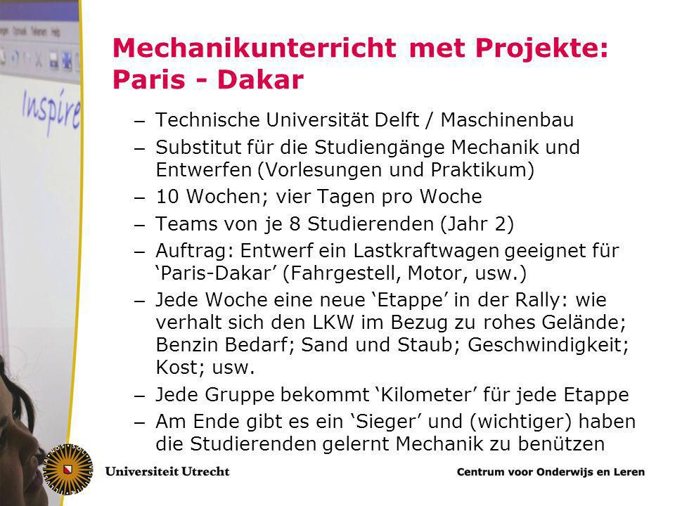 Mechanikunterricht met Projekte: Paris - Dakar