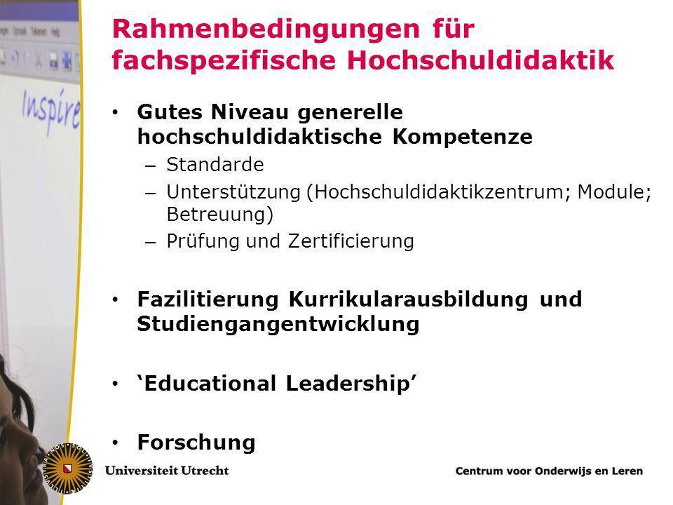 Rahmenbedingungen für fachspezifische Hochschuldidaktik