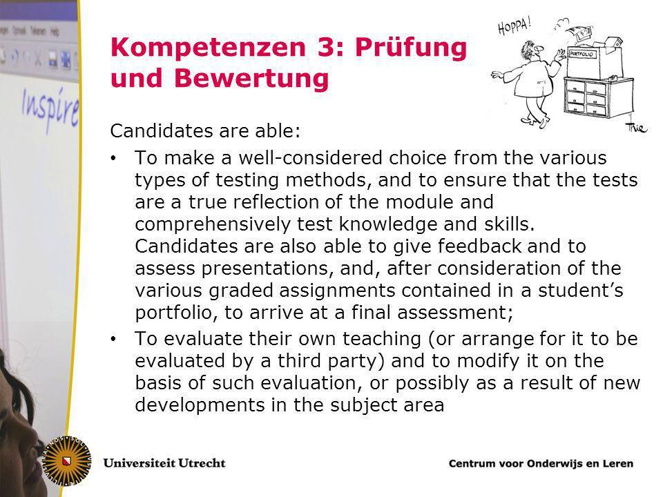 Kompetenzen 3: Prüfung und Bewertung