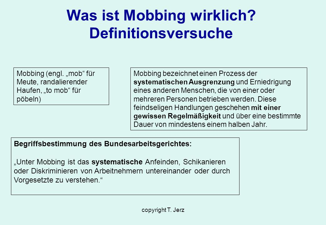 Was ist Mobbing wirklich Definitionsversuche