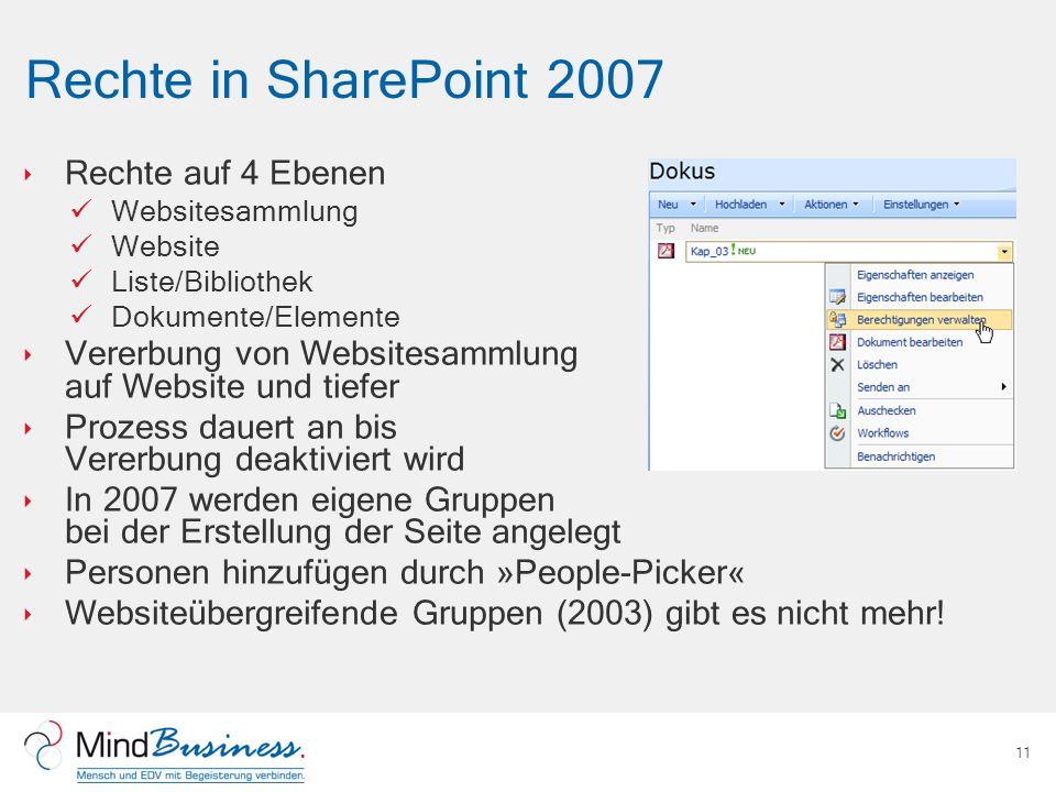 Rechte in SharePoint 2007 Rechte auf 4 Ebenen