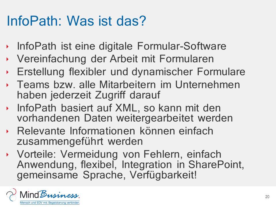InfoPath: Was ist das InfoPath ist eine digitale Formular-Software
