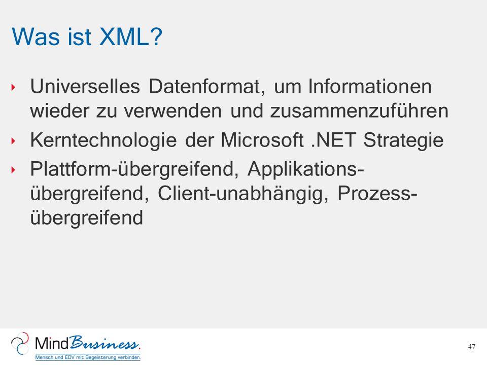 Was ist XML Universelles Datenformat, um Informationen wieder zu verwenden und zusammenzuführen. Kerntechnologie der Microsoft .NET Strategie.