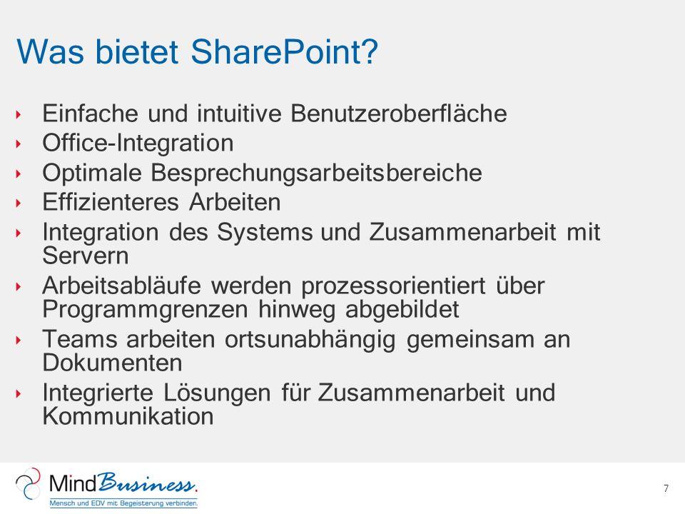 Was bietet SharePoint Einfache und intuitive Benutzeroberfläche