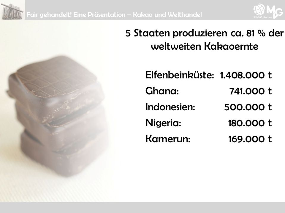 5 Staaten produzieren ca. 81 % der weltweiten Kakaoernte