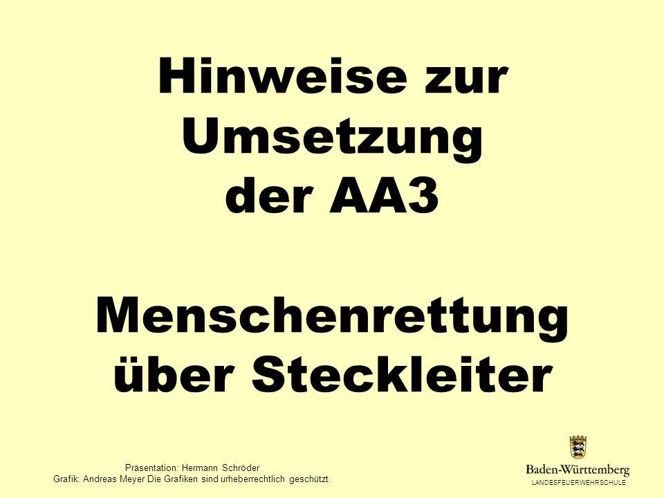 Hinweise zur Umsetzung der AA3 Menschenrettung über Steckleiter