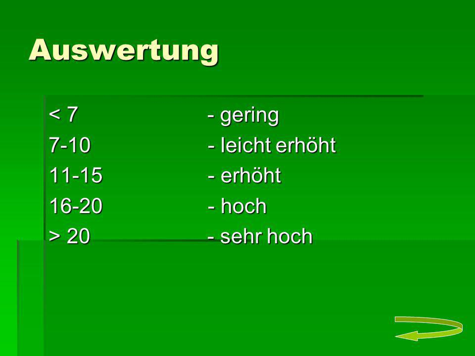 Auswertung < 7 - gering 7-10 - leicht erhöht 11-15 - erhöht