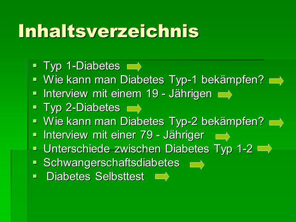 Inhaltsverzeichnis Typ 1-Diabetes