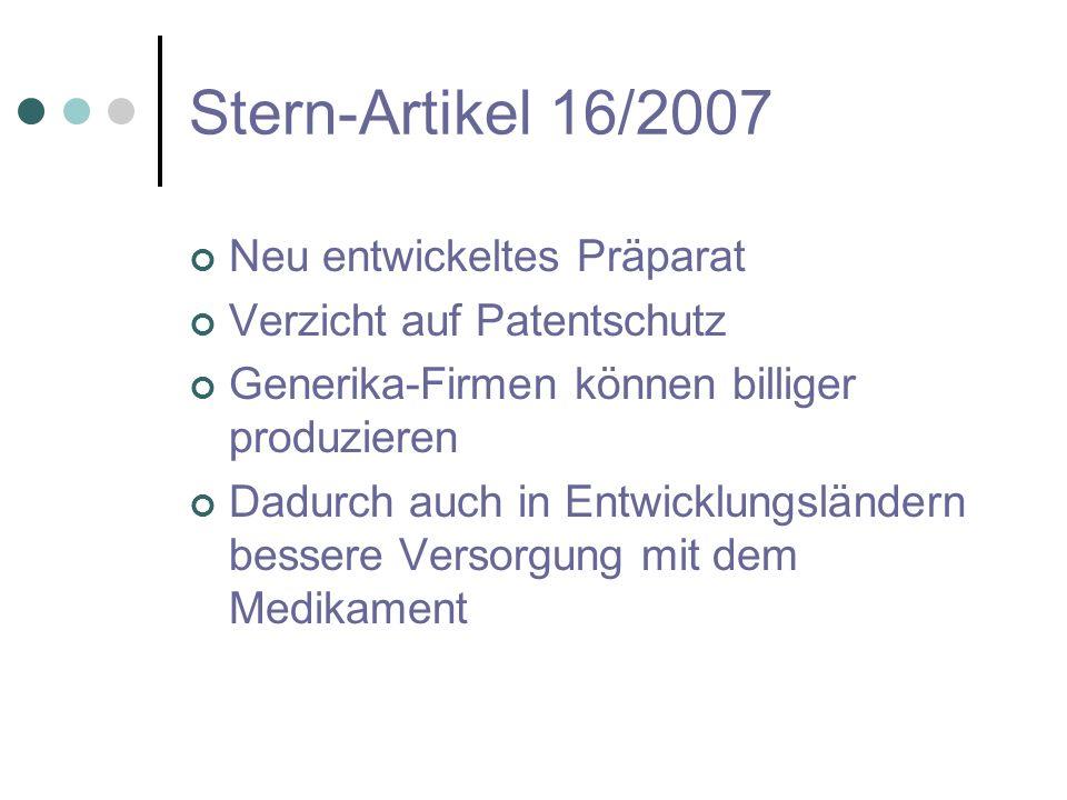 Stern-Artikel 16/2007 Neu entwickeltes Präparat