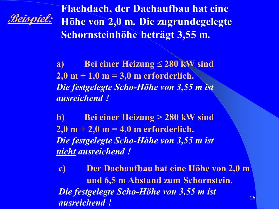 Flachdach, der Dachaufbau hat eine Höhe von 2,0 m